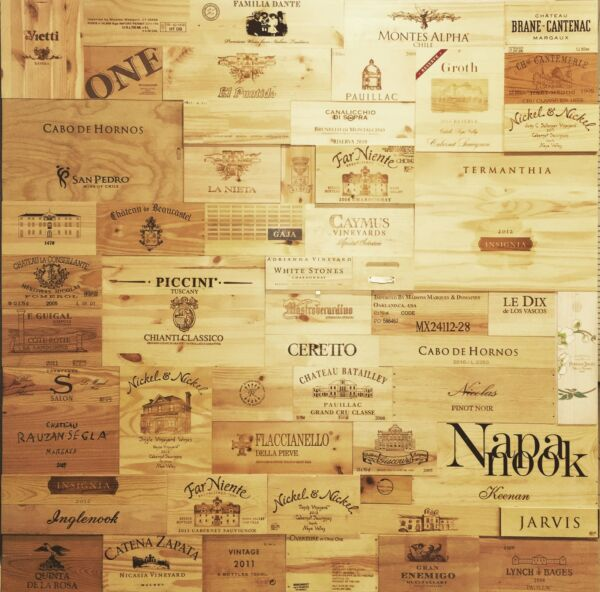 250 Square F Assorted & Branded Wine Panels From Crates SidesEndsTops Wood