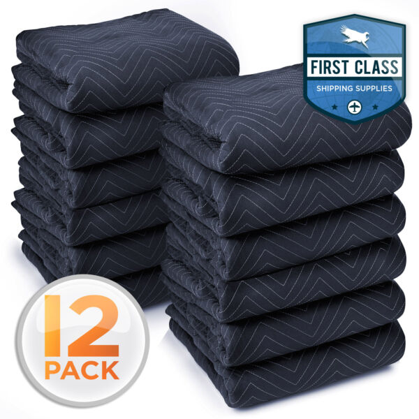 12 Heavy Duty 80quot; x 72quot; Moving Blankets 65 lb dz Pro Packing Shipping Pads