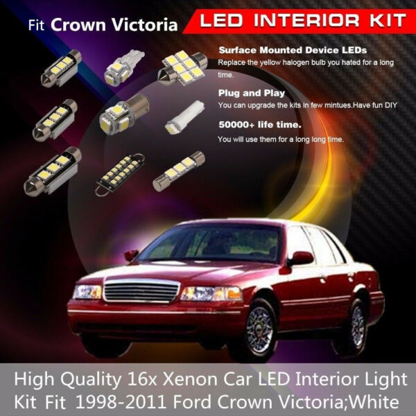 16x White Car Interior LED Light Package Bulbs Fit 1998-2011 Ford Crown Victoria