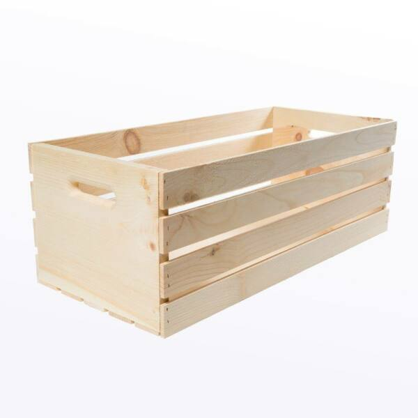 Wood Crate Box Unfinished 27 in. X-Large Storage Tote Natural Pine Slatted Sides