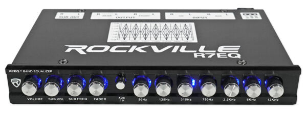 Rockville R7EQ 1 2 Din 7 Band Car Audio Equalizer EQ w Front Rear Sub Output $44.95