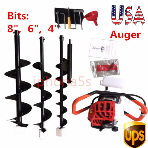 2.3hp Gas Powered Post Hole Digger Earth Auger 52cc Powered Engine +4