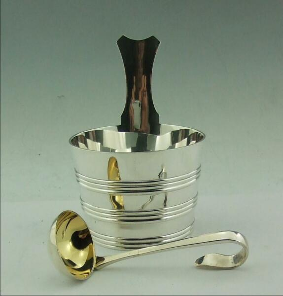 ANTIQUE SCOTTISH SOLID SILVER CREAM PAIL LUGGIE WITH LADLE 287 GMS GLASGOW