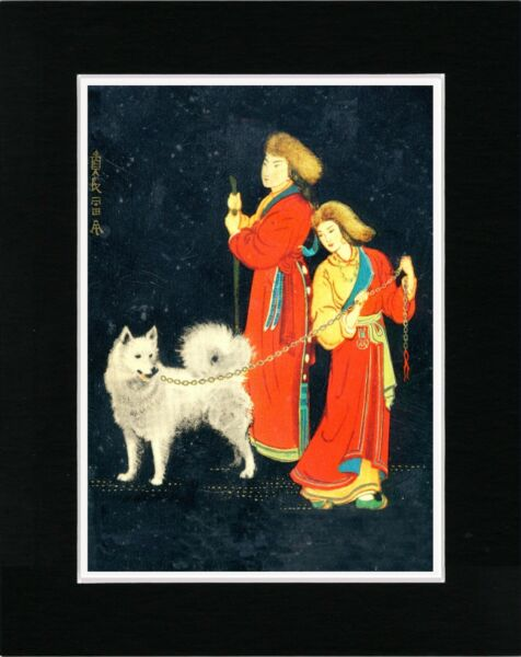 SAMOYED AND REINDEER HERDERS LOVELY VINTAGE STYLE DOG ART PRINT READY MATTED