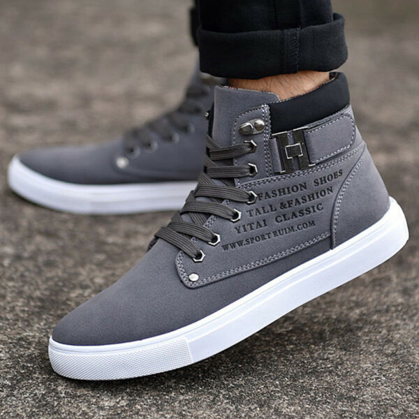 Men's Casual Fashion Canvas Sneakers Lace up High Top Leather Comfy Sport Shoes