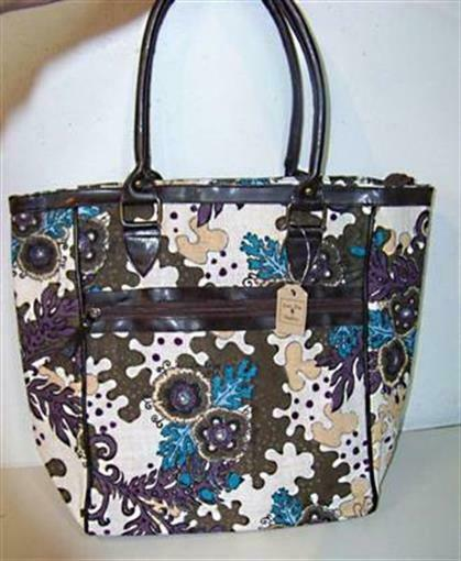 NEW Lone Elm Floral Jute Burlap Purple Blue Cream Brown Tote Bag Purse