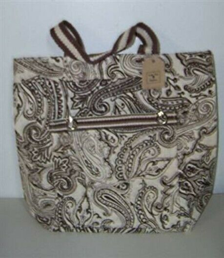 NEW Lone Elm Paisley Jute Burlap Brown amp; Cream Tote Bag Purse