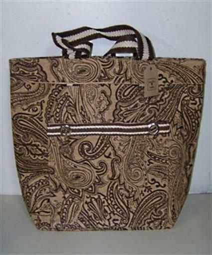 NEW Lone Elm Paisley Jute Burlap Brown amp; Tan Tote Bag Purse