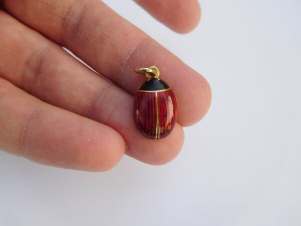Incredible C 1905 Faberge 18K Gold Enamel Guilloche Lady Bug Egg Charm Pendant !