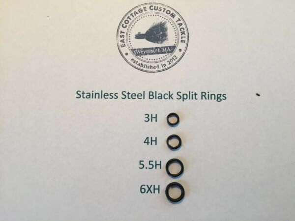 Black Stainless Steel Split Rings ROSCO Terminal Tackle 6XH 5.5H 4H 3H