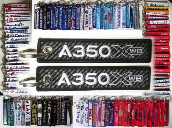 Keyring AIRBUS A350 CARBON BACKGROUND XWB LOGO keychain for Pilot Crew $7.99