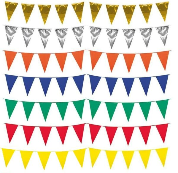 10M LONG BUNTING PLASTIC TRIANGULAR GARLAND DOUBLE SIDED HAPPY BIRTHDAY PARTY