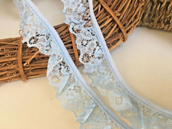 ~Bows Ribbon and Lace~ Baby Blue 1.25inch30mm Nottingham Gathered Lace Trim