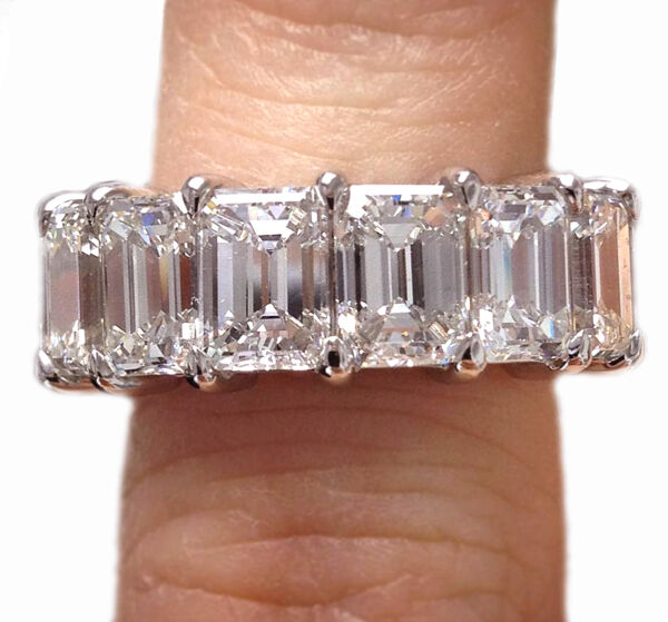 Classic Style Emerald Cut GIA Certified Platinum Diamond Eternity Band 15.00 ...