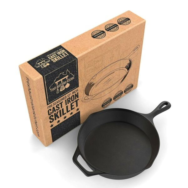 NEW 12 Inch Pre-Seasoned Cast Iron Skillet Pan. 12