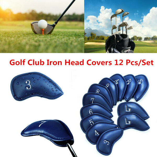 Golf Club Headcovers Iron 12 Pcs Set Head Covers 3-SW Pu Leather Set US Stock