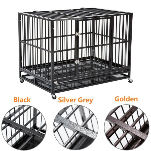 37quot; 42quot; 48quot; Folding Metal Dog Cage Crate Heavy Duty Pet Kennel w Tray amp; Wheels $150.99