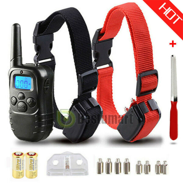 Waterproof 1000 Yard 2 Dog Shock Training Collar Pet Trainer with Remote 4 Mode $29.99