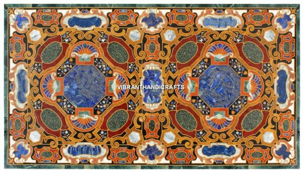 Stone Inlaid Marble Green Table Top Restaurant Arts Lapis Design Furniture H3859