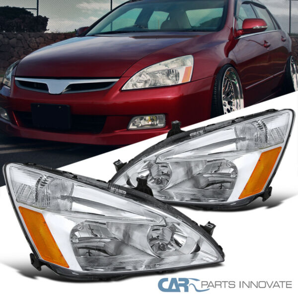 Fit 03-07 Honda Accord 24Dr JDM Replacement Clear Headlights Head Lamps Pair