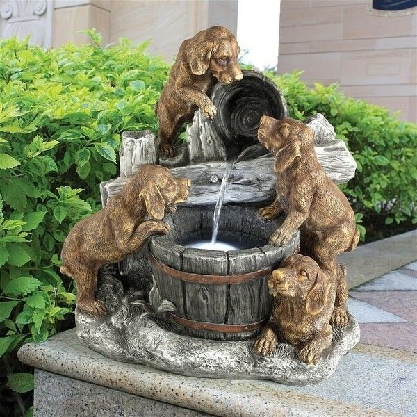 Puppies Garden Fountain Pails ~ Labrador Dog Realistic Sculptural Waterfall LED