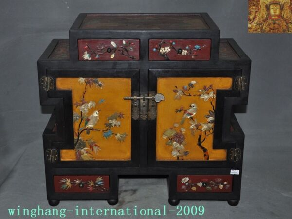 old China lacquerware Red Wood Inlay shell flower bird Cabinet Storage Chest box