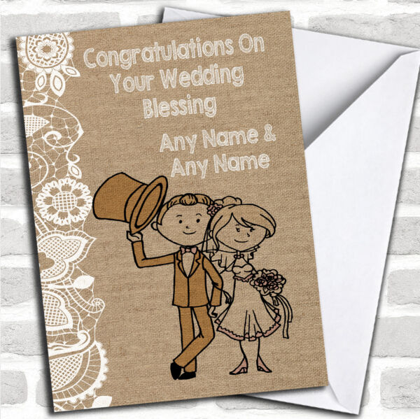 Burlap & Lace Wedding Blessing Personalised Card