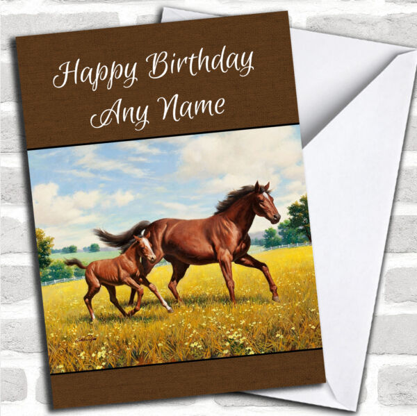 Horse & Foal Burlap Style Personalized Birthday Card