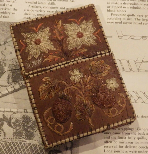 quillwork quill work quebec canada antique rare card holder birch bark