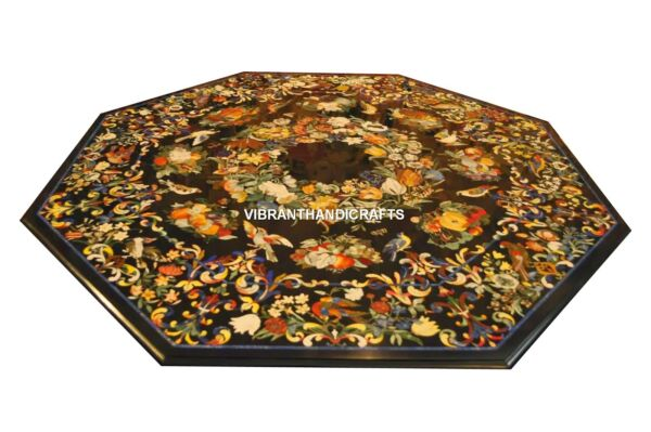 Antique Marble Octagon Dining Table Top Marquetry Inlay Work Scagliola Art H3810