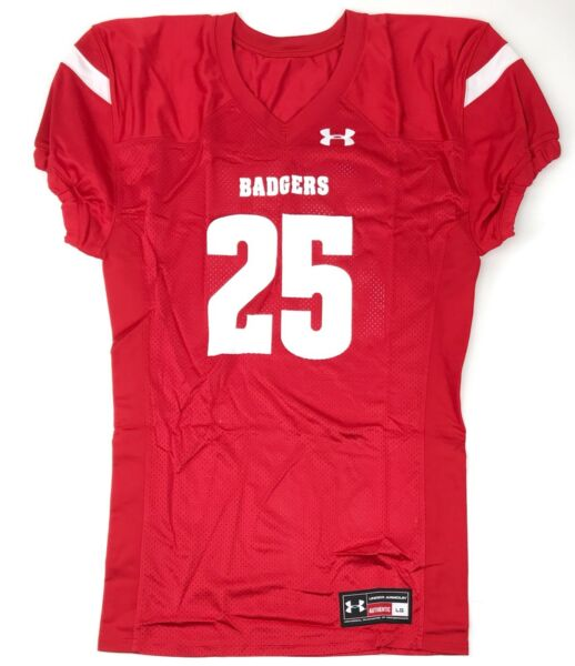 New Under Armour Wisconsin Badgers Football Jersey Men's Large Mesh Red #25