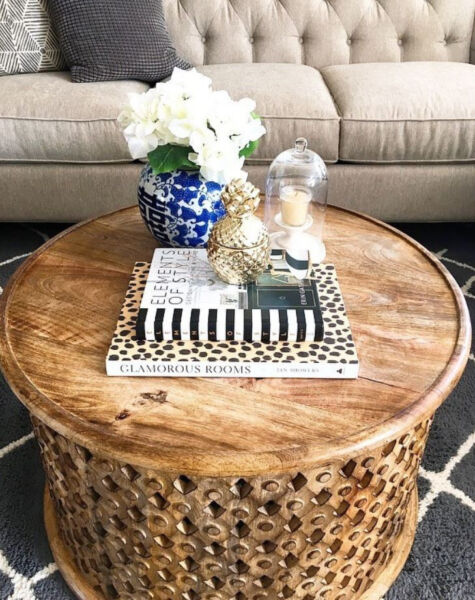 Round Carved Wood Coffee Table Fire Etched Interlocked Rustic Tribal X Pattern