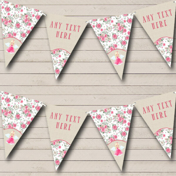 Fairy Princess Pink Burlap Personalised Children#x27;s Bunting Party Banner