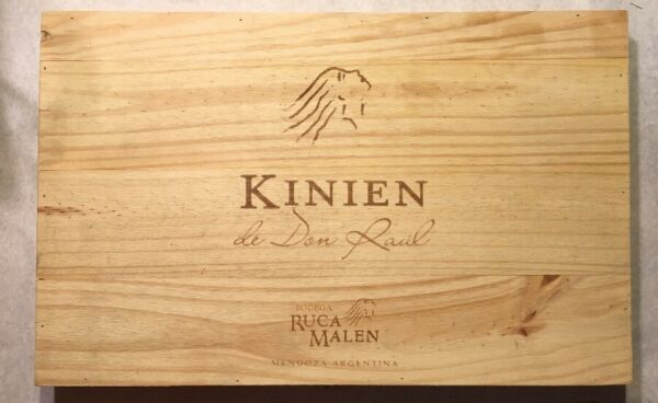 1 Large Rare Wine Wood Top Kinien Argentina Vintage Panel CRATE BOX SIDE 618