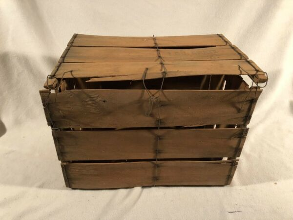 Produce Crate Shaved Wood Bale Wire Bushel Shipping Box Fruit Vegetable GA 1BU.