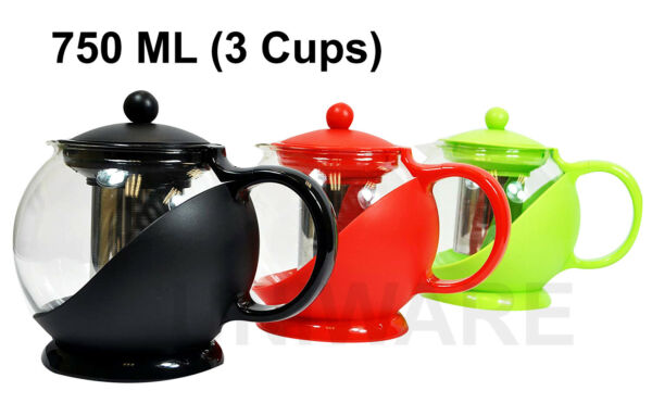 Glass Tea Pot Coffee Pot with Removable Stainless Steel Filter750 ml 3 Cups
