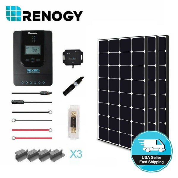 Renogy 300W Eclipse Solar Panel Premium Kit 40A MPPT Controller Off Grid Home RV