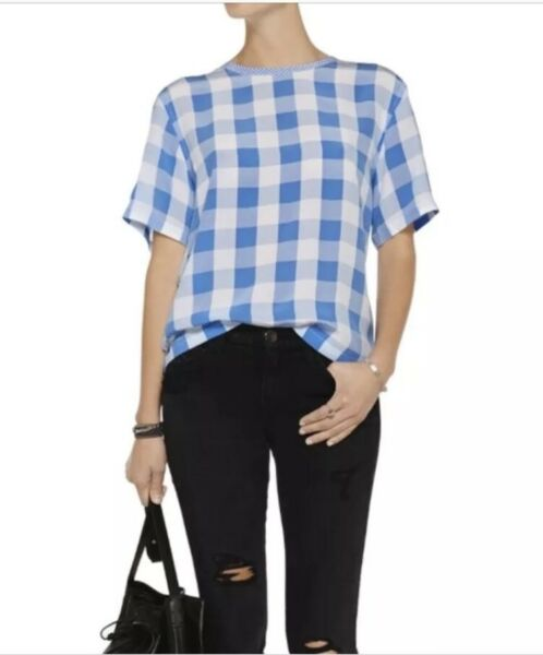Equipment Logan Check Plaid Print T Shirt Blouse Tee XS