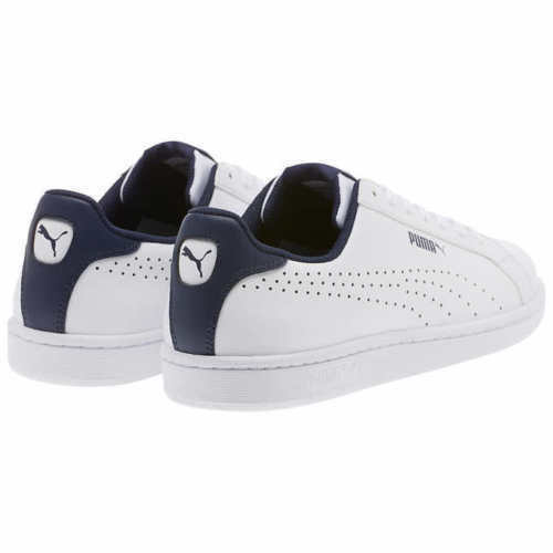 NEW PUMA Mens Leather Sneakers Smash Perf C Athletic Tennis Shoe White Pk Size