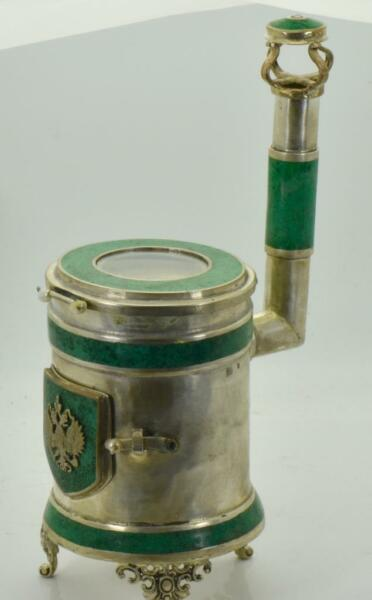 ONE OF A KIND antique Imperial Russian Clock in form of miniature Stove heater