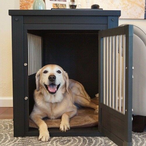 Dog Crate End Table Pet EcoFlex House Furniture With Cushion Espresso XLarge