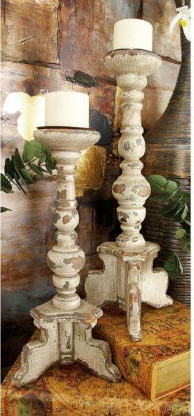 Set of 2 Large Rustic Pillar Candle Holder Candlesticks Distressed White Wood