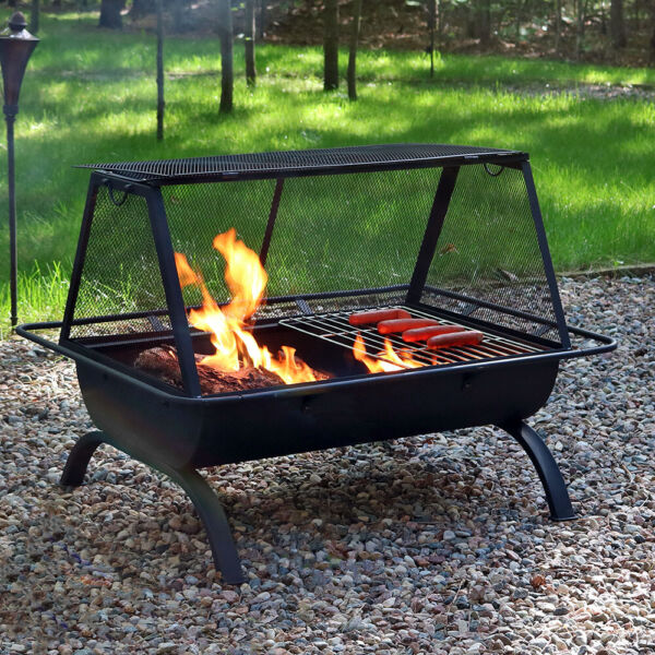 Sunnydaze 36quot; Fire Pit Steel Northland Grill with Spark Screen and Vinyl Cover