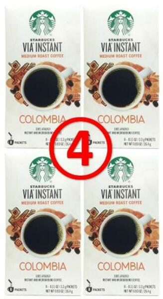 starbucks via COLOMBIA 32 pouches (4 x 8 ct) instant coffee FRESH