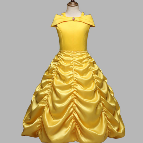 Princess Belle Yellow Off Shoulder Layered Costume Dress Little Girl 2 10 Years $15.98