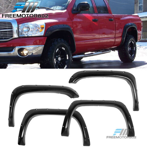 Fits 94-01 Dodge Ram Pocket Rivet Style Fender Flares ABS Textured Black