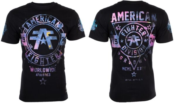 AMERICAN FIGHTER Men T-Shirt SILVER LAKE GALAXY Athletic BLACK Biker Gym $40