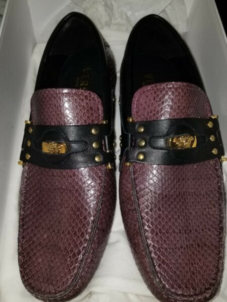 Versace Very Rare Python Snake Skin Loafers Driver Shoes Purple Black Size 6 NEW