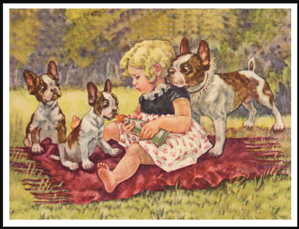 LITTLE GIRL AND FRENCH BULLDOG PUPPIES LOVELY VINTAGE STYLE DOG ART PRINT POSTER