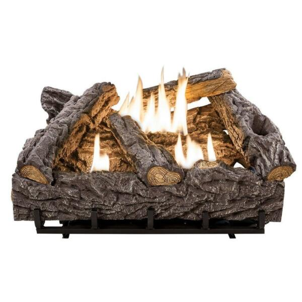 Vent-Free Gas Log Set with 7-Refractory Cement Logs 24-Inch Ventless Fireplace